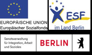 Logos der Förderer: EU, ESF und das Land Berlin
