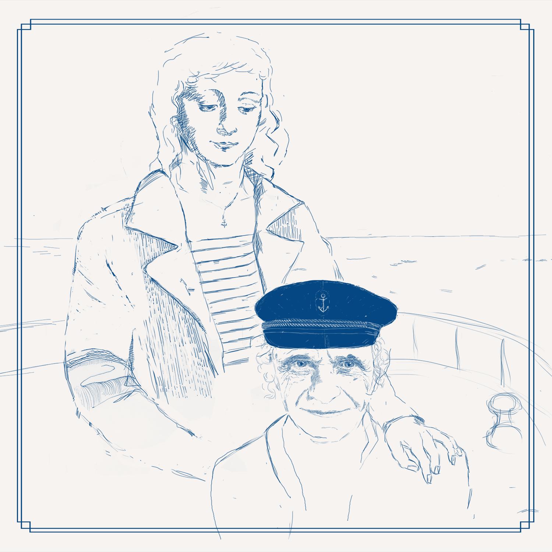 Zeichnung von Pflegerin und Kapitän