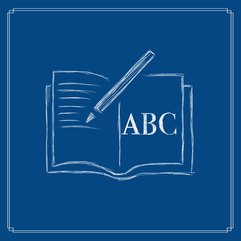 gezeichnetes Schreibheft mit Stift und ABC