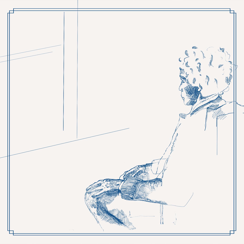 zeichnung alte Dame schaut aus dem Fenster