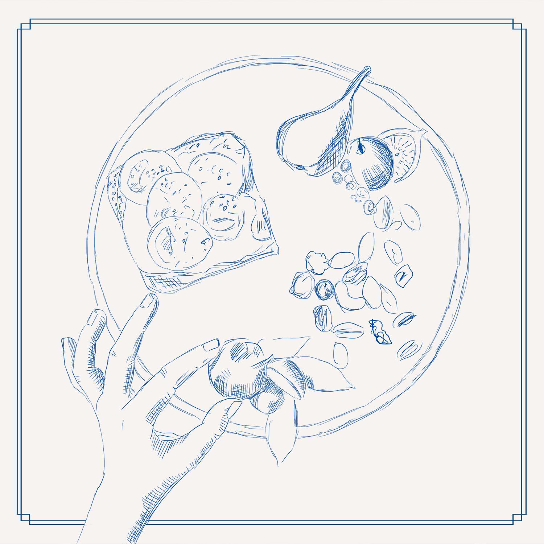 gezeichneter Teller mit Obst und Brot