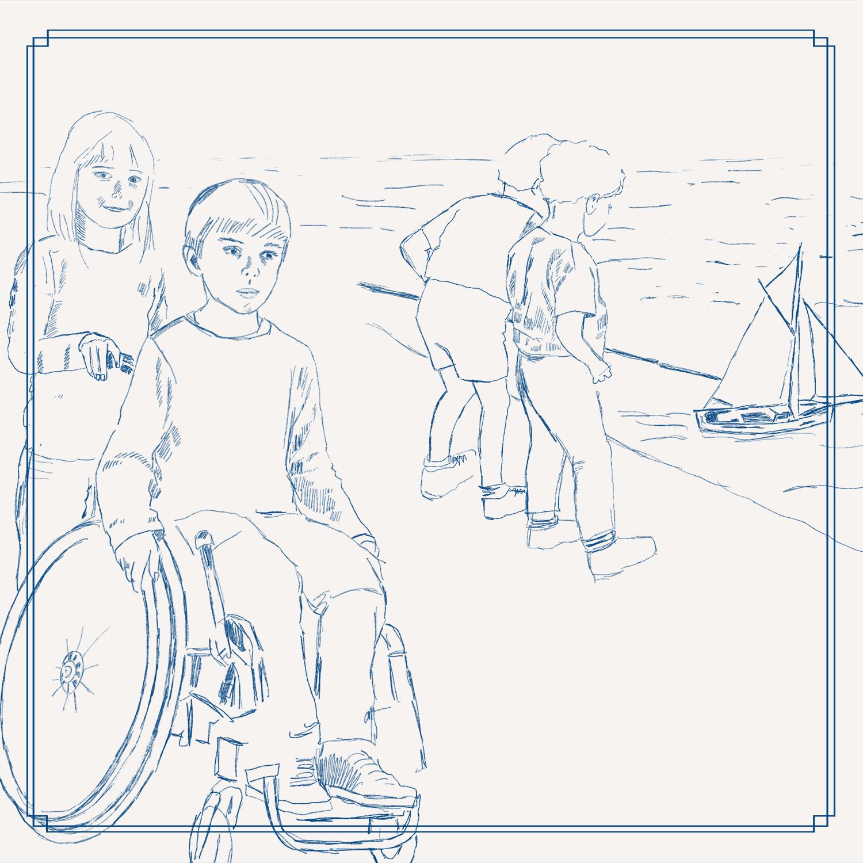 Zeichnung Kind schiebt Kind im Rollstuhl